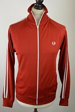 """Retro men's Fred Perry deep red 80s style polyester tracksuit top small 42"""""""
