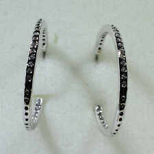 18K White Gold Filled CZ Women Fashion Jewelry Stud Dangle Hoop Earring E0256