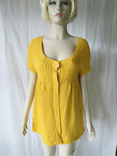 Animal yolk yellow popper front short sleeve cardigan Size 14 New