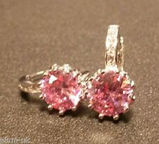 T16 Round pink & white sapphires WHITE GOLD gf French hoop earrings BOXD Plum UK