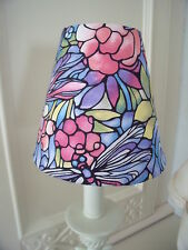 Handmade Candle Lampshade Stained glass Art Nouveau Style fabric in multi