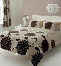 CREAM & BROWN KING SIZE DUVET QUILT COVER BED SET - BIG FLOWER PRINT