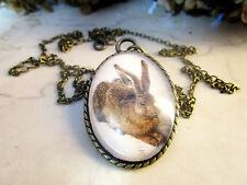 Cabochon Halskette mit Hase Kaninchen in Bronze Halsschmuck Modeschmuck Damen