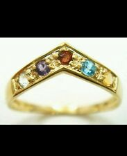 9CT SOLID YELLOW GOLD ROUND MULTI-GEMSTONES RING SIZE N GORGEOUS