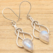 925 Silver Plated Blue Fire RAINBOW MOONSTONE Drop Gems LATEST STYLE Earrings