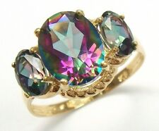 3.1CT OVAL NATURAL MYSTIC TOPAZ 9KT YELLOW GOLD RING SIZE 7    R927
