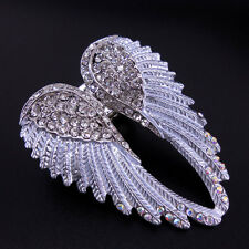 Lovely White Angel Wing 5.5cm Long Use Austria Crystal Stretchy Ring