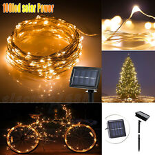 100 LED Solar Powered Fairy String Strip Light Xmas Garden Party Lamp Warm White
