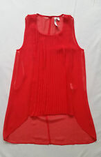 As New FOREVER NEW Orange Red Chiffon Top Blouse Tank Pleated Glam Casual Size 4