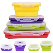 4 Sizes Silicone Collapsible Lunch Box Portable Folding Food Storage Containers