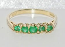 Vintage 9ct Yellow Gold Emerald 5 Stone Eternity Ring - size N