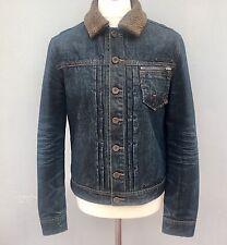DKNY DONNA KAREN NEW YORK Vintage Denim Jacket Large Faux Fur Brown