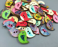 50PCS Wooden Retro Mixed pattern color Cartoon BirdsSewing 2-holes Buttons 23mm