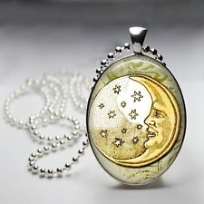 Yellow Moon Celestial Oval Dome Silver Plated Pendant 30x40mm Ball Chain