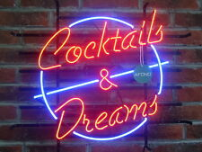 """New Cocktails And Dreams Neon Sign Bar Wall Decor Light Larger 24""""x20"""""""