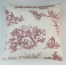 "Cushion Cover Toile de Jouy Shabby Chic French Style Design Rose Pink 16"" / 40cm"