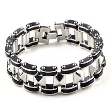 Mens 316L Stainless steel & rubber bike chain bracelet/cuff/ID tag/wristband