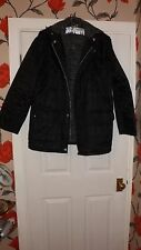 """MENS HOODED BLACK """"PUFFER"""" COAT WITH FLEECE LINING - Size 40in chest"""