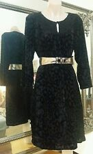 Blue Illusion Dress.SzM.Velour leopard print.Sewn small disks on bodice.Stretchy