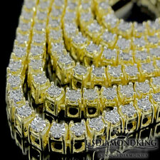 Men's Ladies 1 Row Yellow Gold Finish Genuine Diamond Tennis Chain Necklace 26""