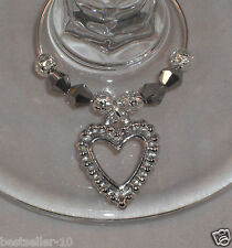 100 x Wine Glass Charm Silver Hearts Wedding day Christening Hen Party  Handmade