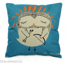 """BE BRAVE"" Sad OWL New LINEN-COTTON Mix CUSHION COVER, Wounded Bird, UK Sale"
