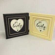 New DOUBLE HEART PHOTO PICTURE FRAME IN BLACK AND CREAM Home Wedding Gift