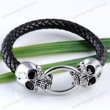 Fashion Skull PU Leather Braided Men's Bracelet Wristband Cuff Punk Jewelry Gift