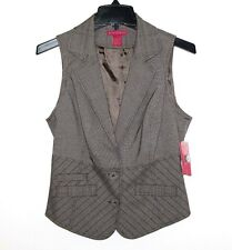 Sunny Leigh - 4 (S) -  NWT - Beige Plaid Rwo-Button Vest - Sleeveless Jacket