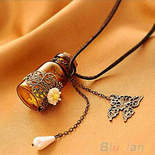Womens Hollow Flower Butterfly Wishing Bottle Long Sweater Chain Charms Necklace