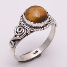 925 Sterling Silver Ring US Size 7, Natural Tiger Eye Gemstone Jewelry R2303