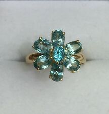 14k Solid Yellow Gold Flower Cluster Ring Natural Blue Zircon 4TCW, Sz 7.25