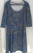 Sunny Girl Size 14 Black White Blue Stretch Dress Preloved Business Work Casual