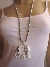 Modekette Bettelkette Damen Hals Kette lang XL Strass Elefant Silber Weiss Trend