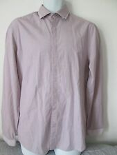 H&M - LILAC BUTTON DOWN FINE CHECK FITTED Shirt Size M 100% COTTON
