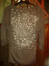 GREY LONG LEOPARD TOP  3/4 SLEEVES SIZE 12