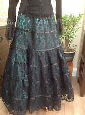 WHITBY GOTH STEAMPUNK VICTORIAN GREEN SATIN & BLACK LACE MAXI SKIRT 12 14 16 18