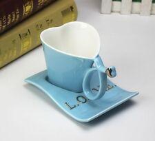 New Stylish Blue Heart Shape Love Coffee Tea Cup Mug Home Decor