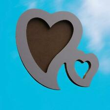 Chic Double Heart Natrual Wood Photo Picture Frame Shabby Gift Fashion BeautyPI2