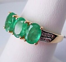 2.11Ct Natural Emerald 10K Gold Ring, Size 8, Certificate