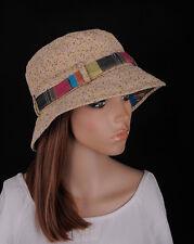 M419 Brown Women's Round Brim Cotton Cap Summer Beach Sun Hat Bucket Cloche