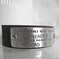 "Handmade Personalised ""...believe in heroes.."" Real Leather Cuff Unique Dad Gift"