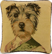 SUPERB GOLD GREEN OFFICER MILITARY DOG TAPESTRY VELVET 45.7cm CUSHION COVER AS