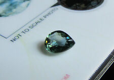Superb Certified Unheated 1.32ct Pear Cut Yellowish Greenish Blue Sapphire.