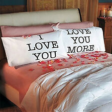 I Love You & Love You More Lovers Pillow Case Cotton Cushion Cover Pillowcases