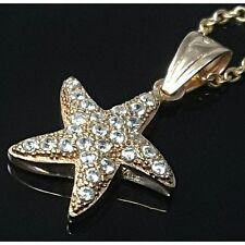 925 Sterling Silver Cubic Zirconia Rose Gold Plated Starfish Necklace Pendant UK