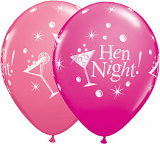 Hen Night Bubbly 5 Latex Balloons Helium Air Party Wild Berry Qualatex