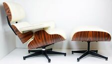 Lounge Chair and Ottoman Light Rosewood Cream Leather Inspired by Charles Eames