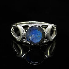 925 Sterling Silver Labradorite Gemstone Ring Band SZ 7 Designer Fashion Jewelry