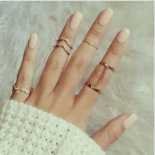 1 Set 6pcs Fashion Leaf Midi Mid Finger Rings Gold Stacking Chain Party Jewelry